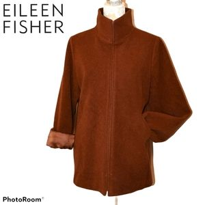 Eileen Fisher Wool Jacket Toffee Color Funnel Neck